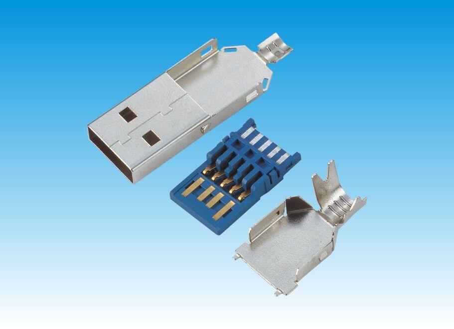 USB 3.0 AM 焊线式 蓝色胶芯
